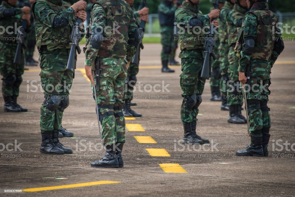 Soldiers in army Parade stock photo