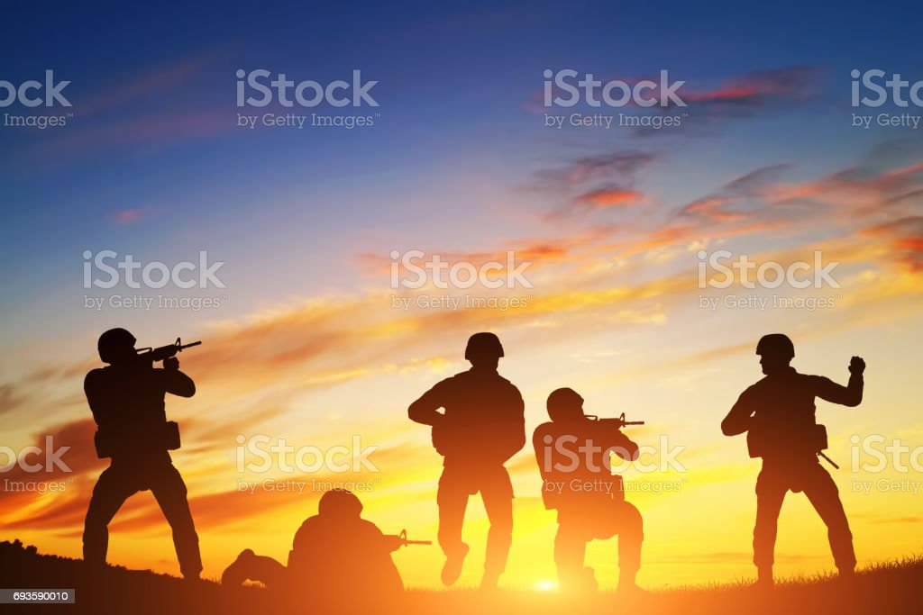Soldiers in assault. War, army, military. stock photo
