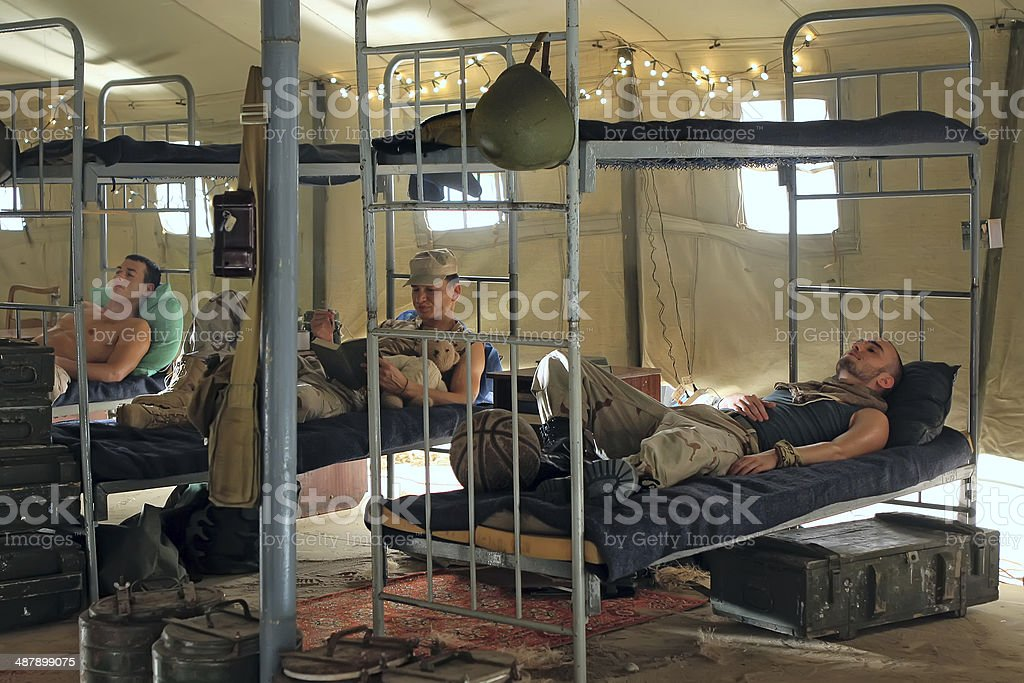 Soldiers in barracks stock photo