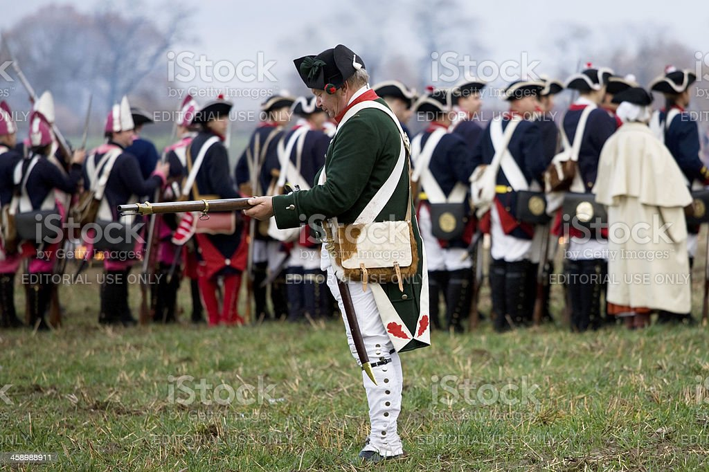 soldiers in historic regimentals stock photo