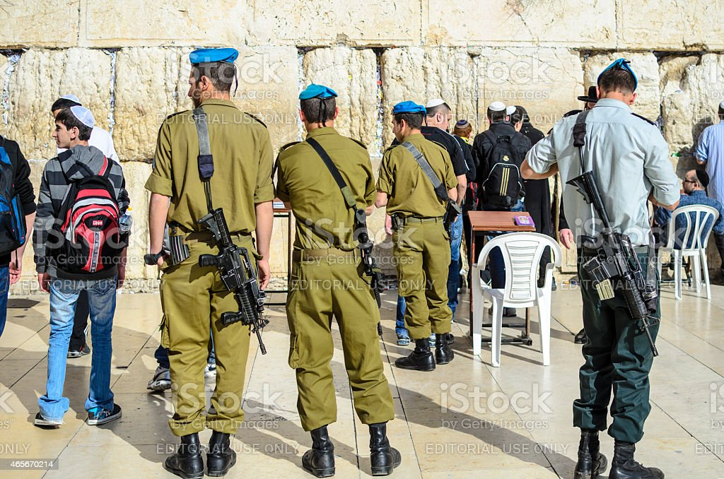 Soldiers in Jerusalem stock photo