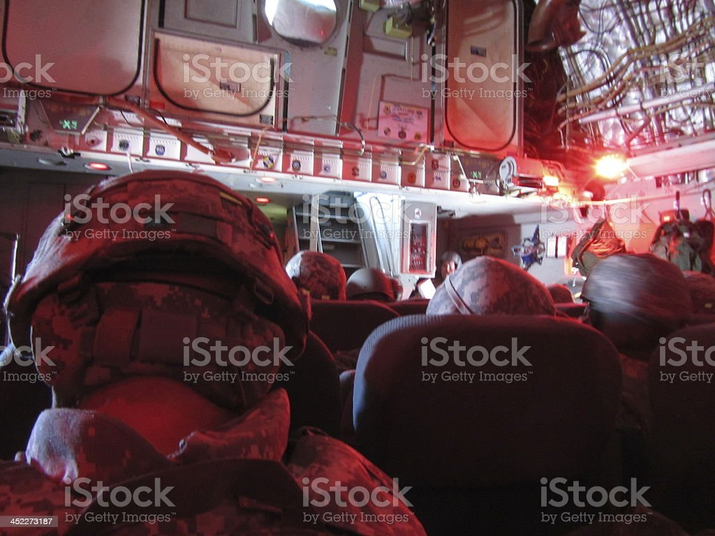 Soldiers Inside An Airplane royalty-free stock photo