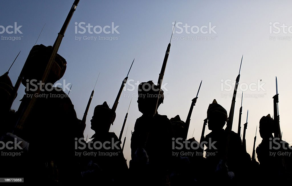 soldiers march during a parade stock photo