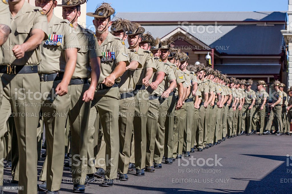 Soldiers marching in Anzac Day Parade stock photo