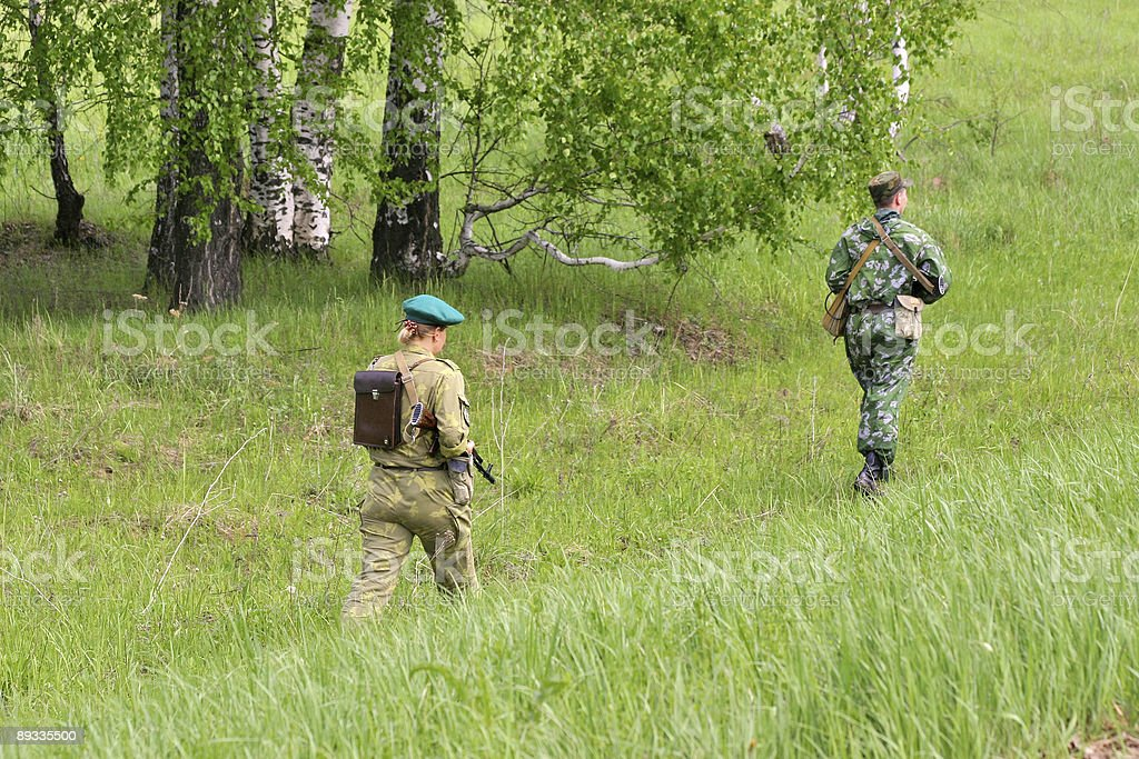 Soldiers on patrol royalty-free stock photo