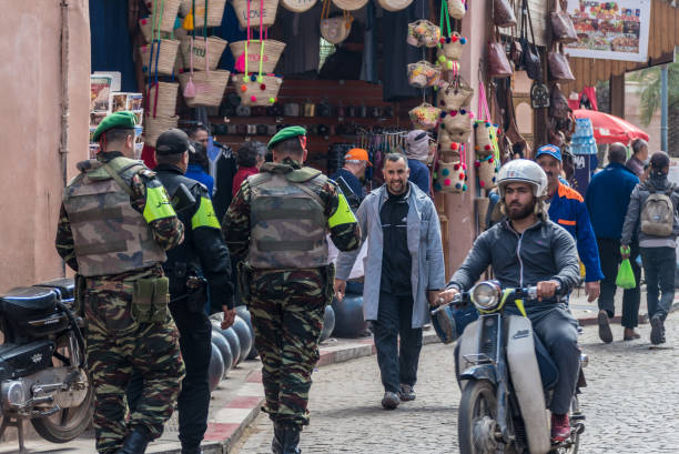 Soldiers on the streets of Marrakesh stock photo