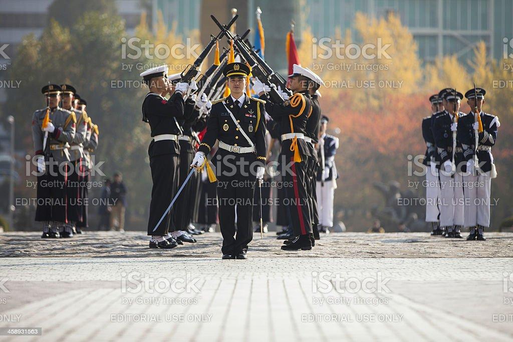 Soldiers parade at the War Memorial of Korea stock photo