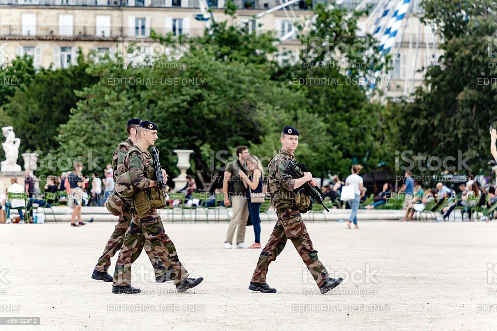 Soldiers patrolling in Paris stock photo