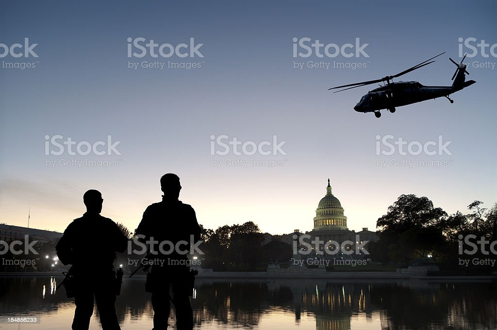 Soldiers Provide Homeland Security at Capitol Hill stock photo