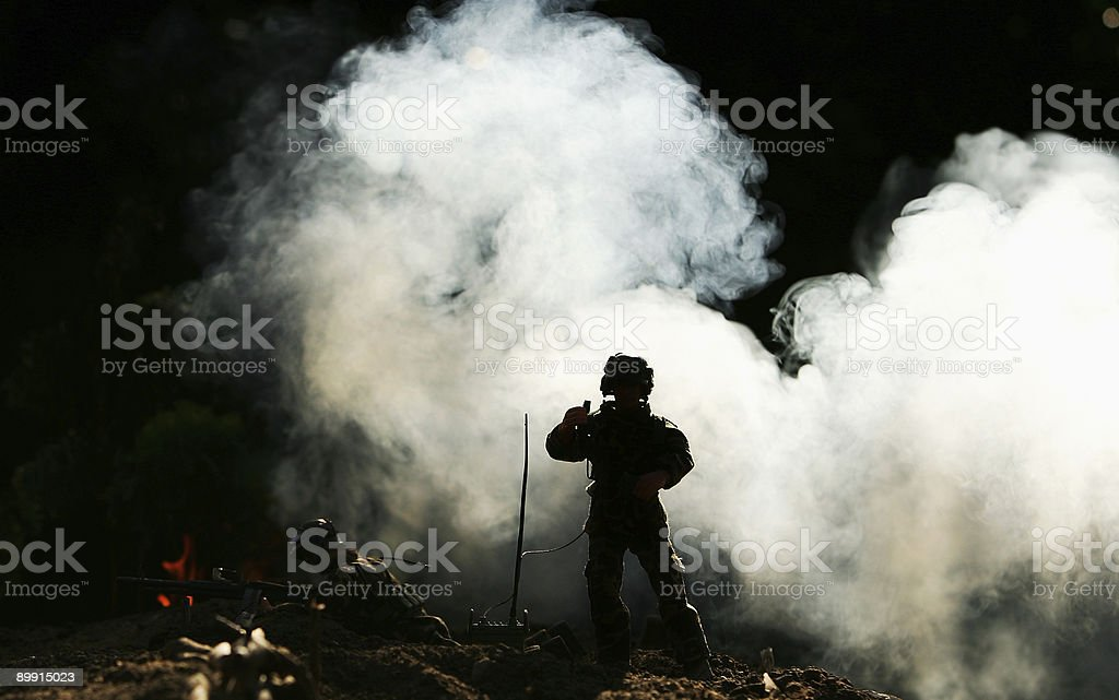 Soldiers radio for help royalty-free stock photo