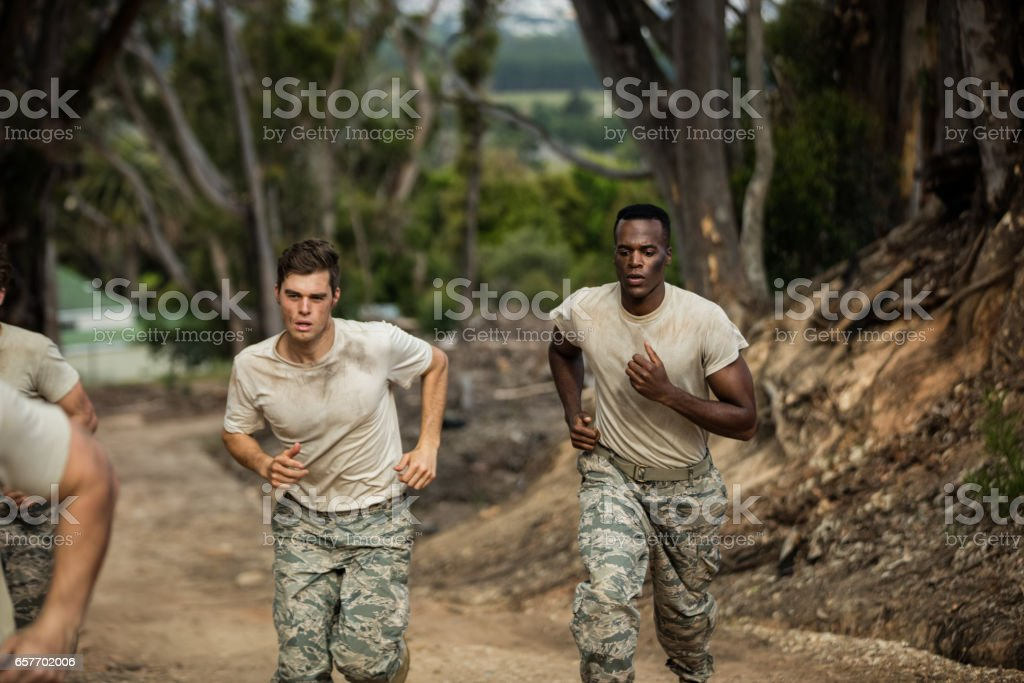Soldiers running stock photo