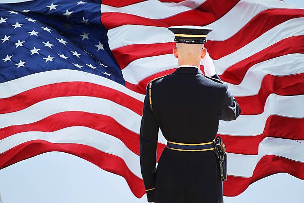 soldier's saluting - saluting stock photos and pictures