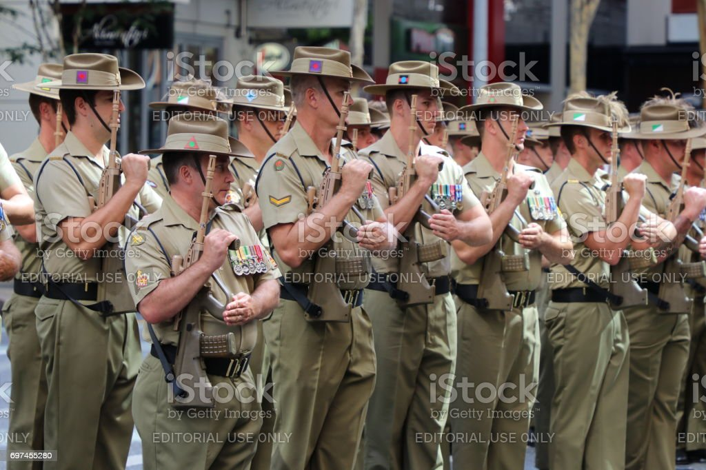 Soldiers with weapons stock photo
