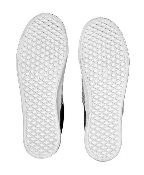 sole of cloth shoe isolated on white background with clipping path stock photo