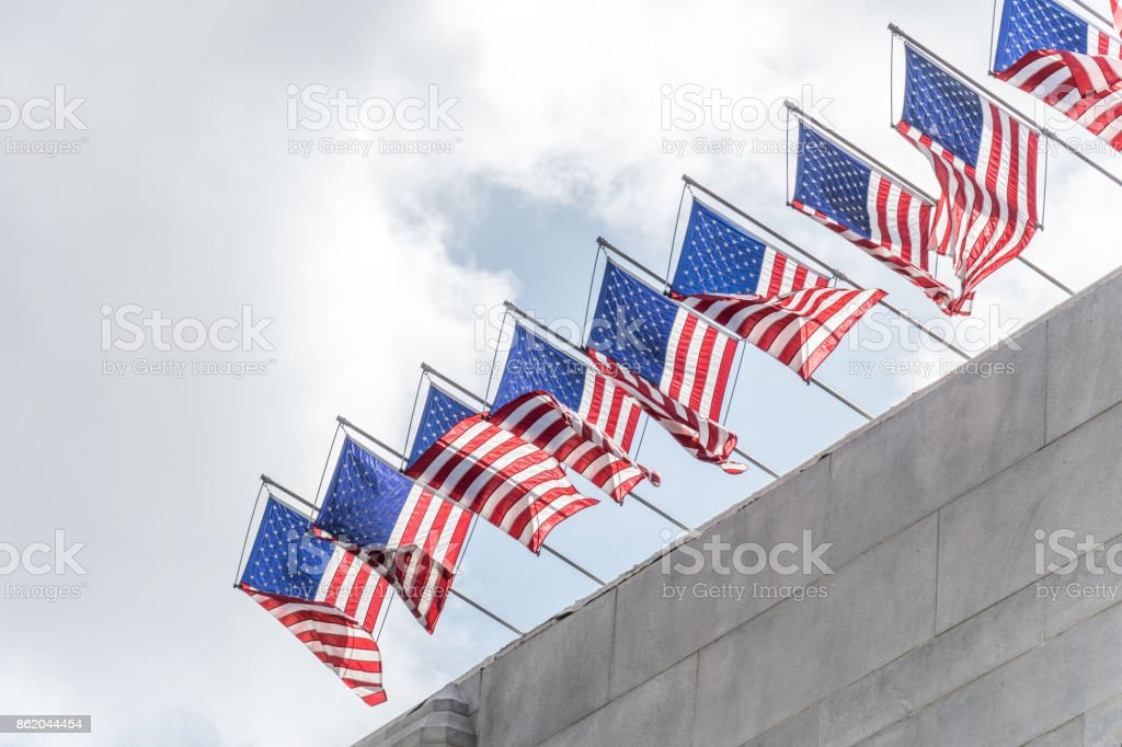 Solemn flags of the USA stock photo