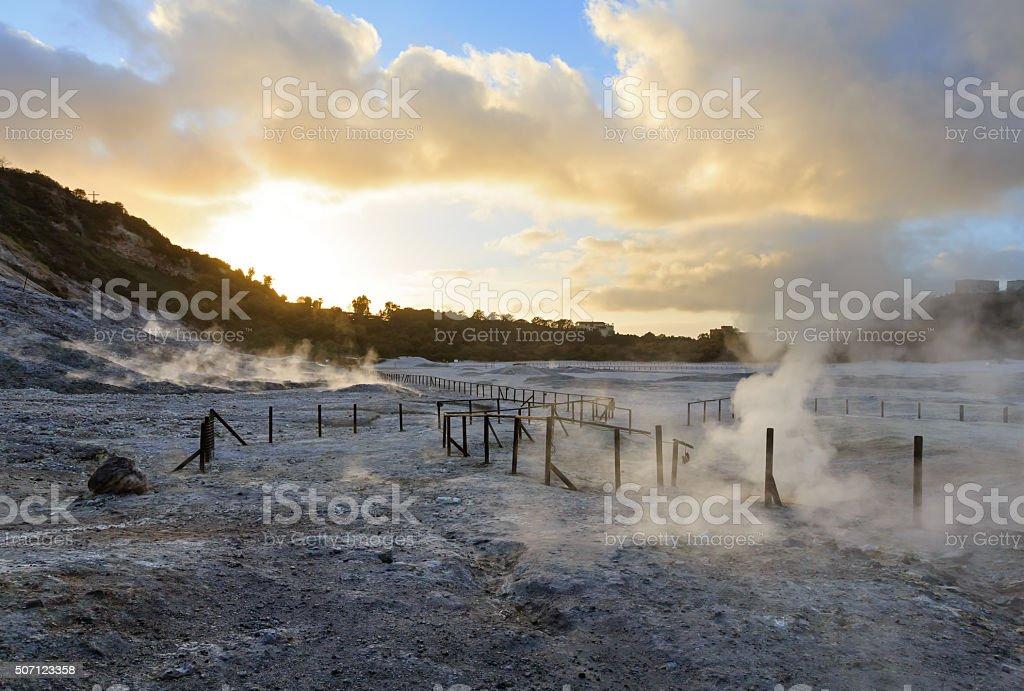 Solfatara, volcanic crater, near Naples. stock photo