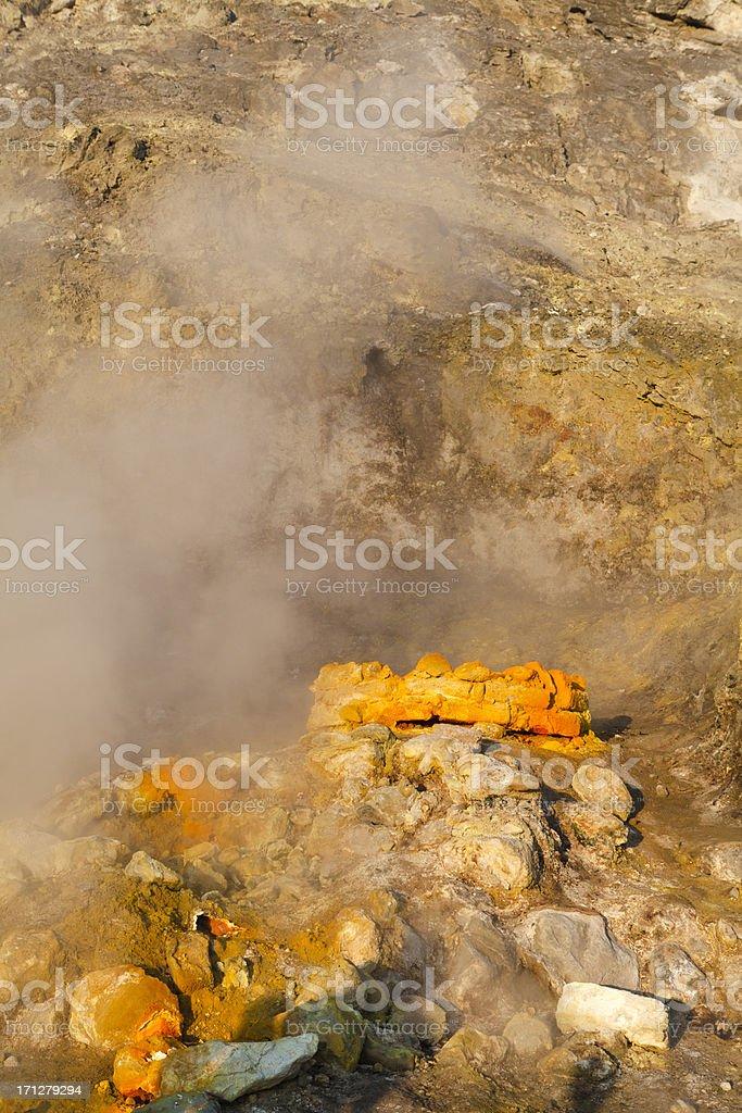 Solfatara Volcano, Sulfur Gas, Campania, Italy stock photo