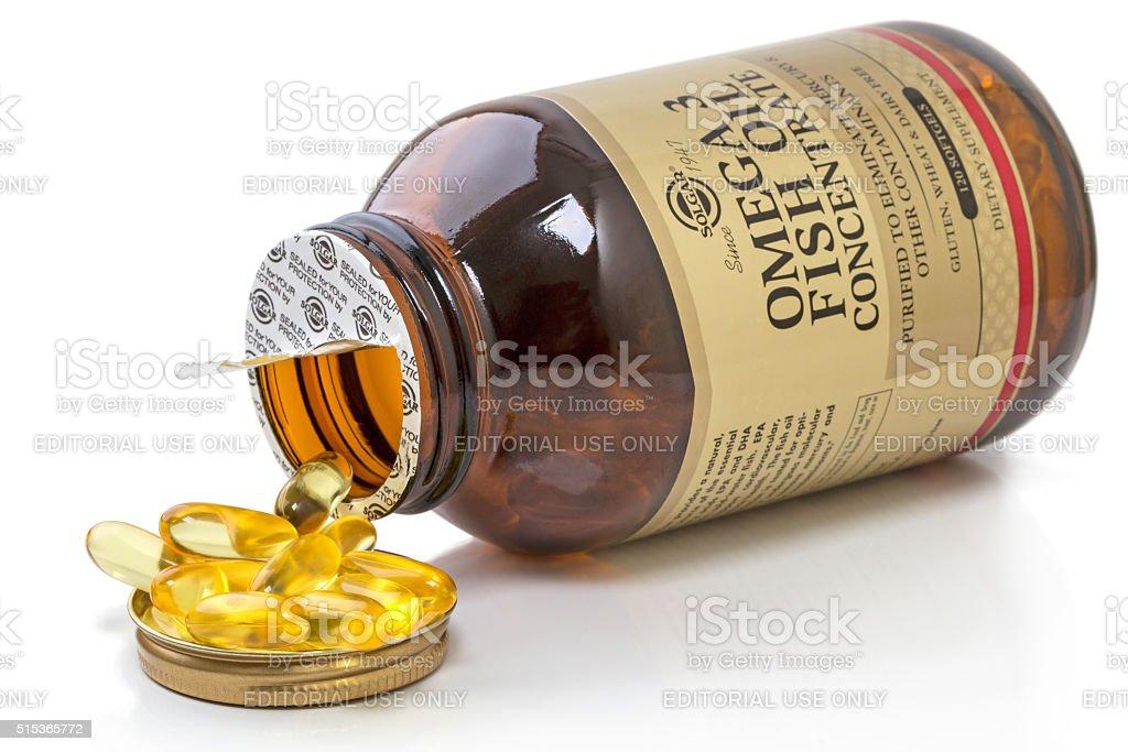 Solgar Omega 3 fish oil stock photo