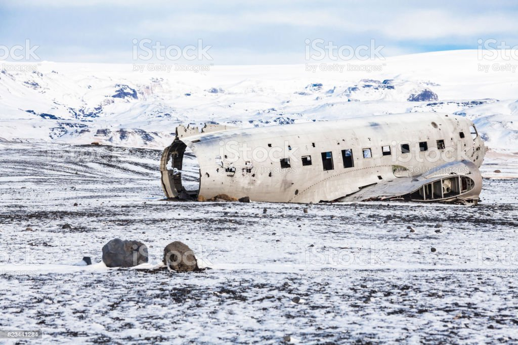 Solheimasandur the plane wreck view during winter snow stock photo