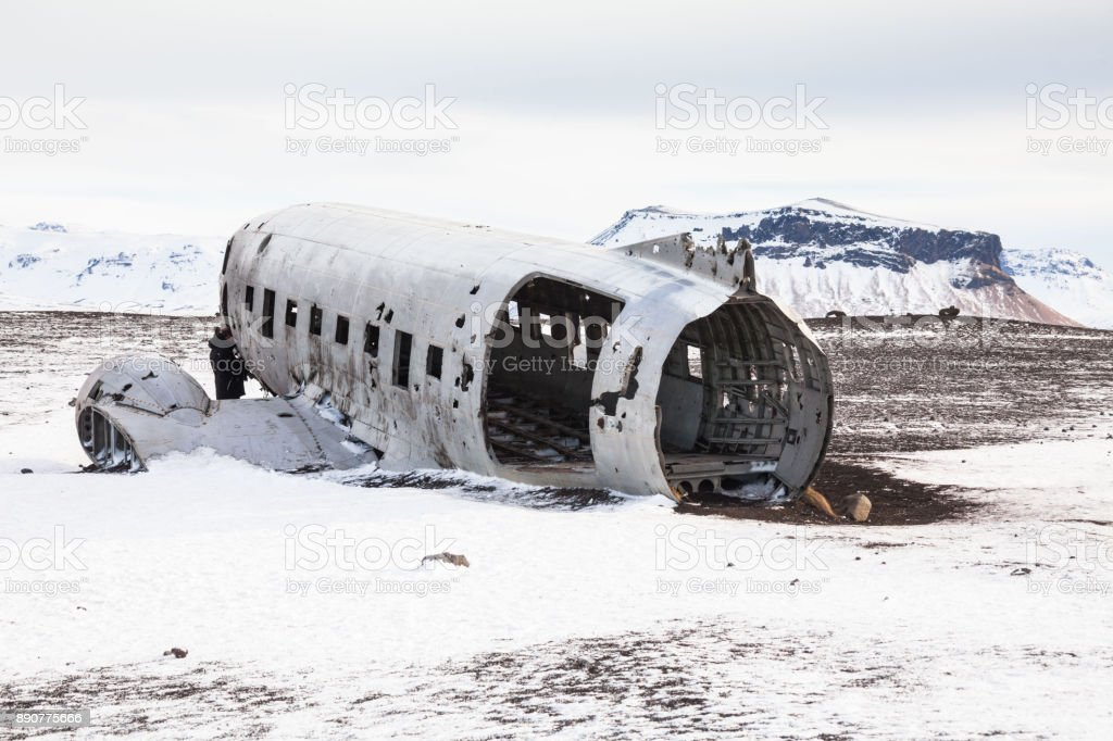 Solheimasandur The Plane Wreck View During Winter Snow Stock Photo ...