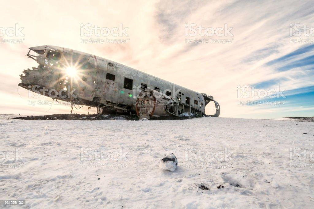 Solheimasandur the plane wreck view during winter snow stock photo