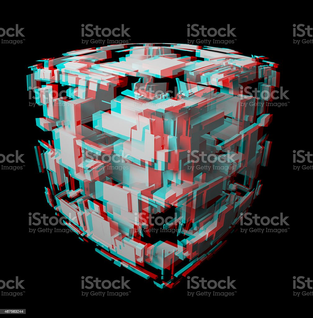 Solid anaglyph fractal for 3D glasses. stock photo