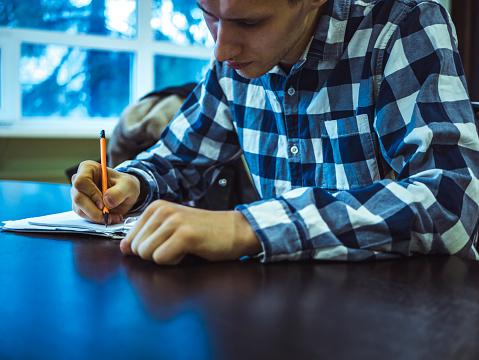 Solide Zakenman In Geruite Overhemd Maken Van Notities Op Papier Aan De Tafel Stockfoto en meer beelden van Advies