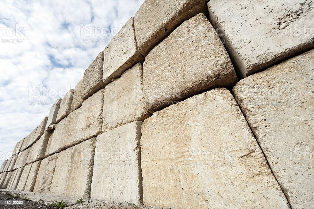 Solid cement wall stock photo