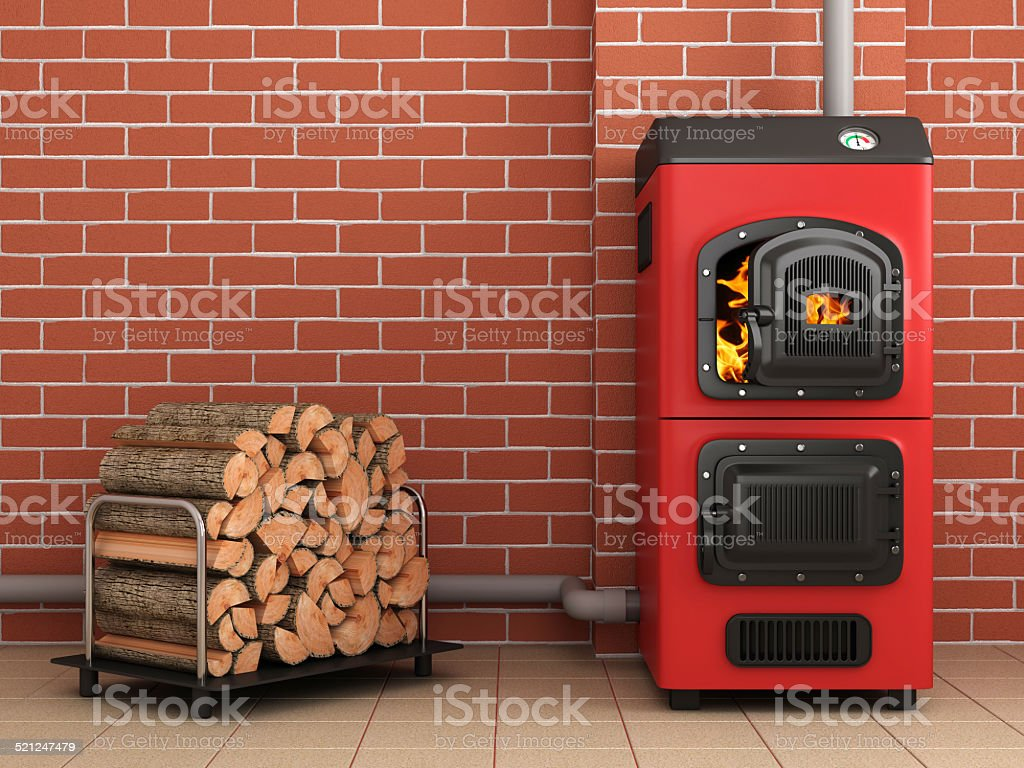 Solid fuel boiler. Boiler room stock photo
