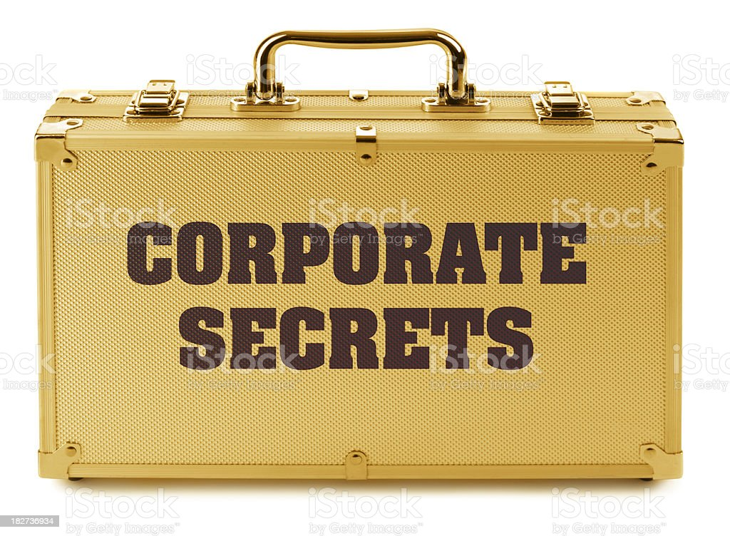 Solid Gold Briefcase Filled With Valuable Corporate Secrets; royalty-free stock photo