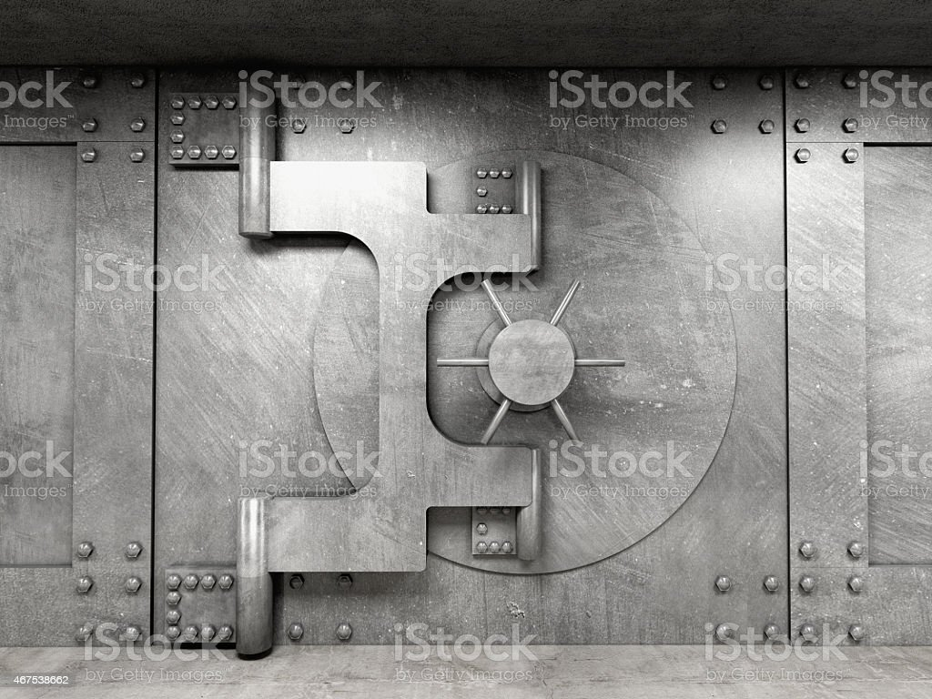 Solid gray vault that's closed stock photo