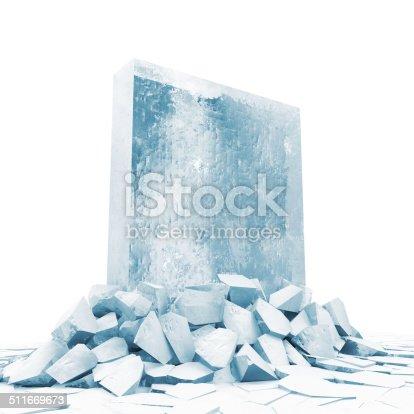 istock Solid Ice Block Breaking Through From Ice Floor 511669673