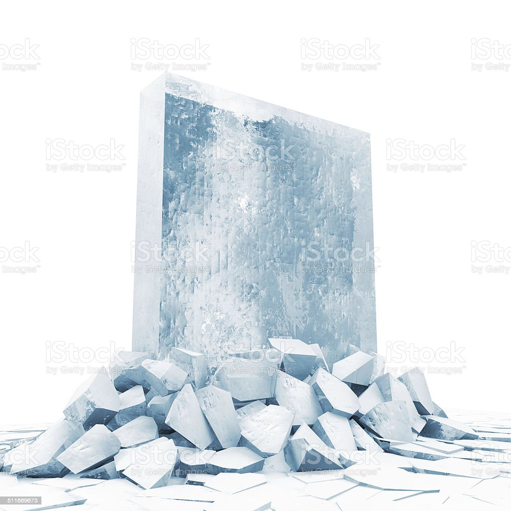 Solid Ice Block Breaking Through From Ice Floor stock photo