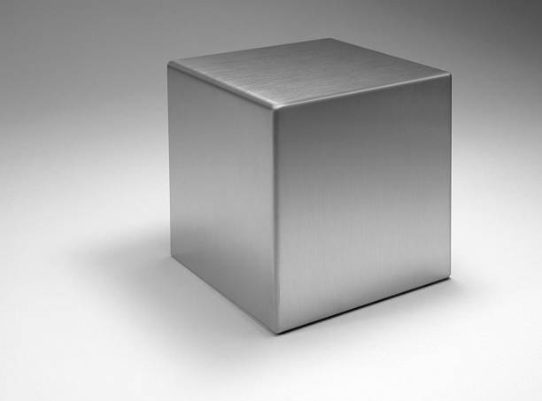 solid metallic cube - cube shape stock pictures, royalty-free photos & images