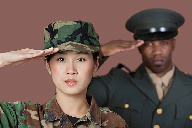 solider portrait - saluting stock photos and pictures