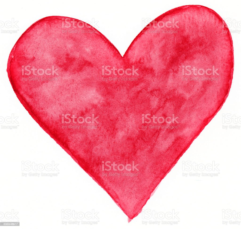 Solid red hand painted watercolor heart stock photo