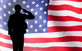 Solider Saluting Against The American Flag