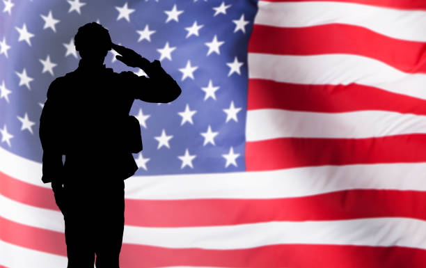 solider saluting against the american flag - saluting stock photos and pictures