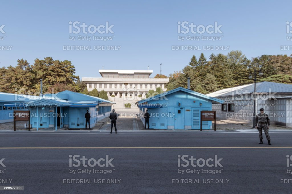 Soliders at the Joint Security Area conference buildings between South and North Korea 2017 stock photo