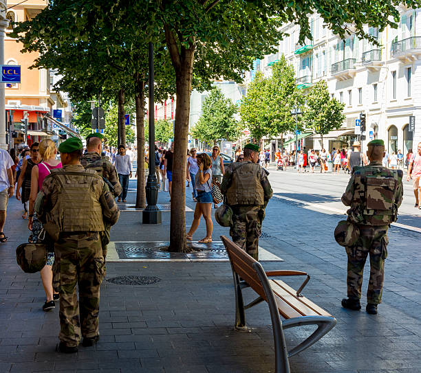 Soliders on the streets of Nice, France after Terrorist Attack stock photo