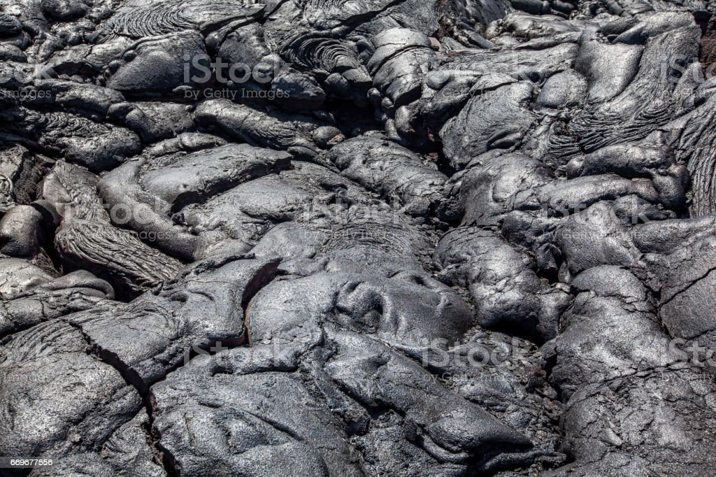 solidified lava flow background stock photo