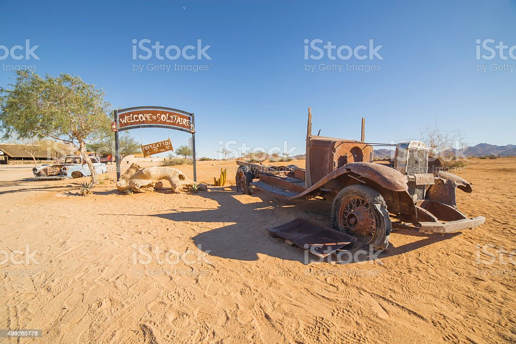 Solitaire, a lonely settlement in Namibia stock photo