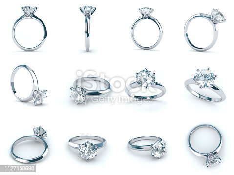white gold engagement ring with a big round brilliant cut solitaire diamond in a six prong setting