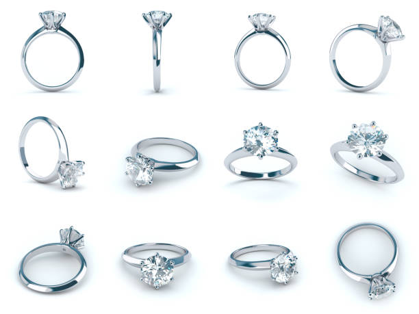 solitaire diamond engagement rings, various camera angles, isolated on white background - fidanzamento foto e immagini stock