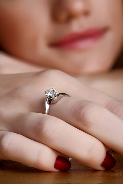 Solitaire Engagement Ring stock photo