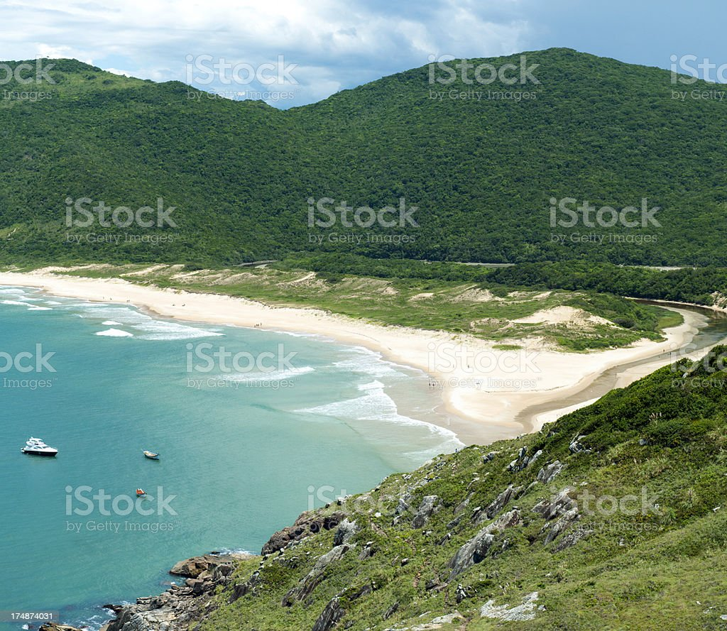 Solitary beach along the endless coast of Brazil. stock photo