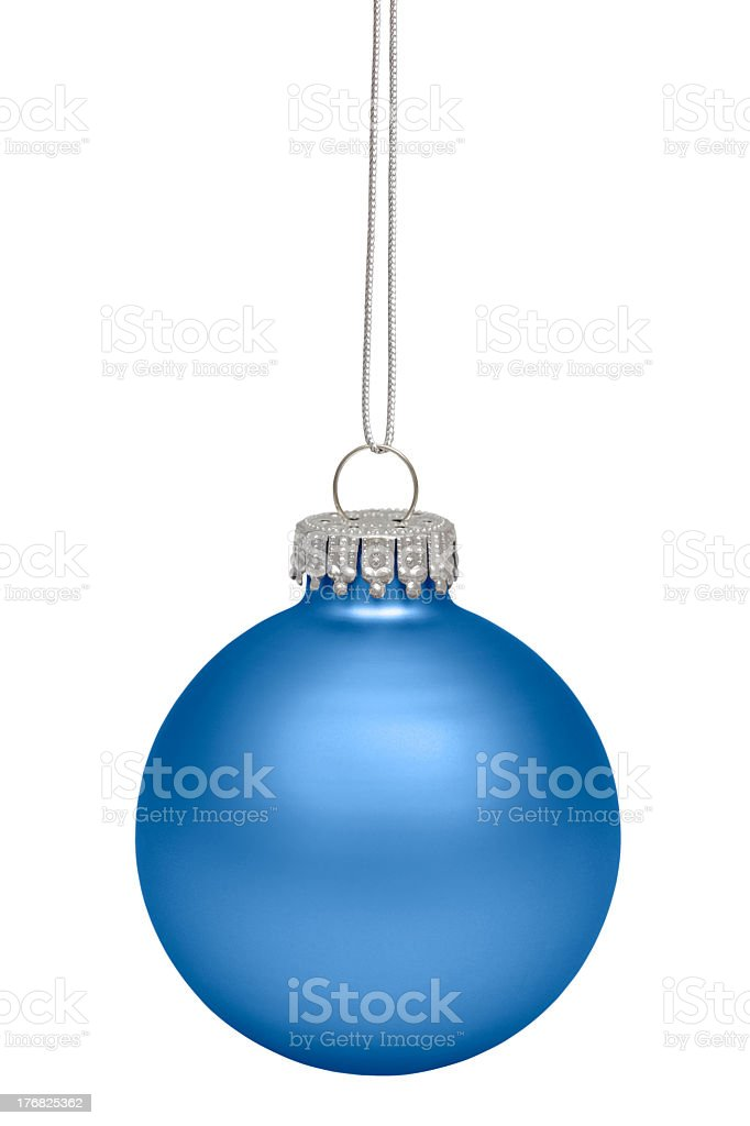 Solitary blue holiday ornament stock photo