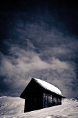 istock Solitary Hut, Winter Landscape in the Dolomites, Italy 164145807