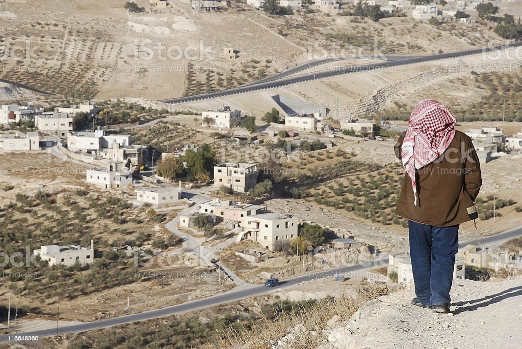 Solitary Man in Palestine stock photo