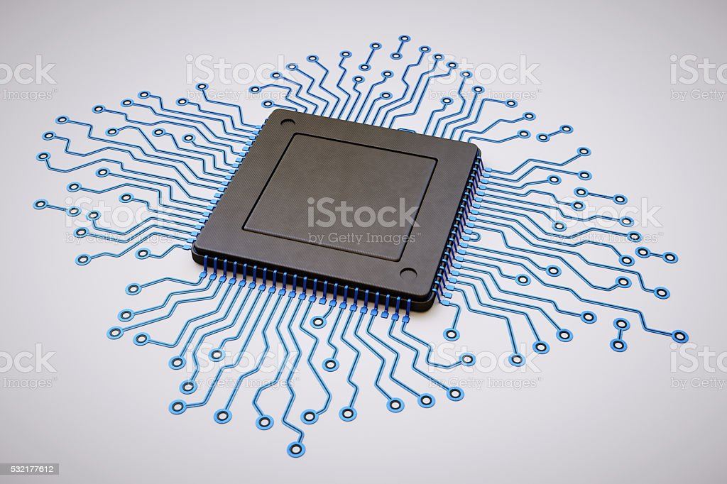 Solitary Microprocessor Isolated on White stock photo